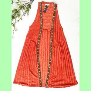 Orange Boho Duster Knit Vest Size S/M-NWT